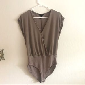 Super sexy silver/taupe/gray low cut body suit
